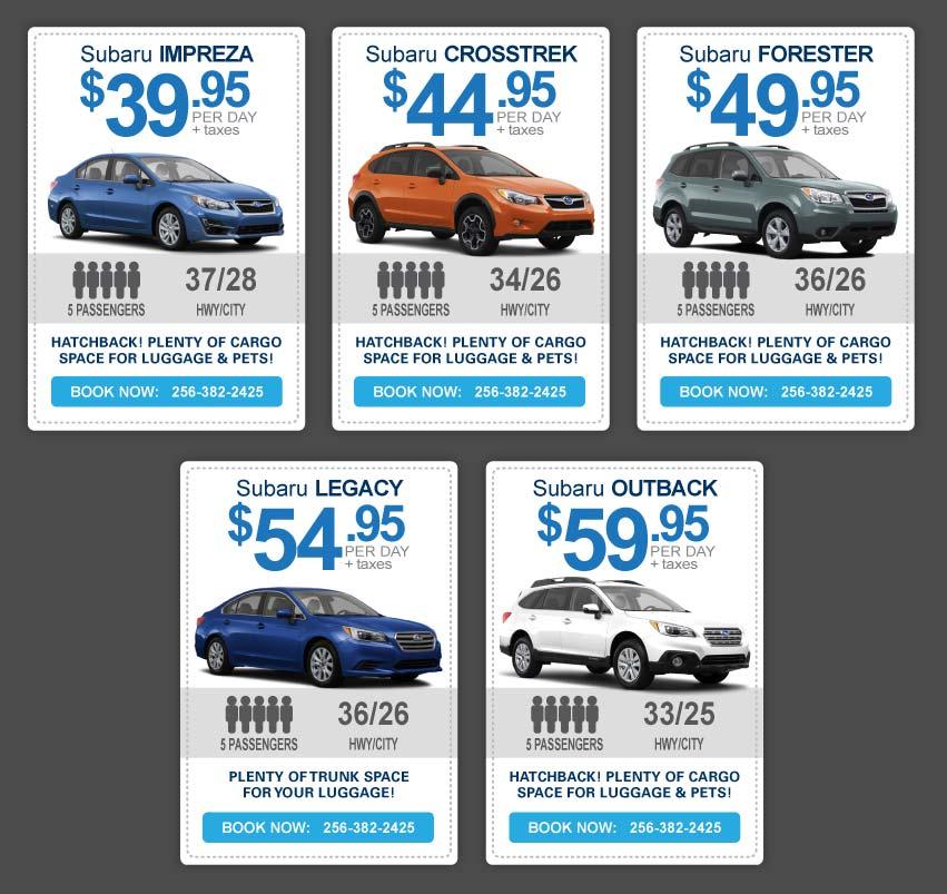 Vehicle rental chart