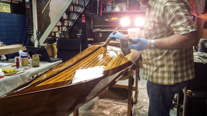 Jay Andre working on Canoe